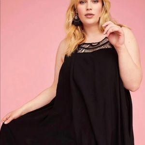 Lane Bryant Black Crochet Top Gauzy Shift Dress 20